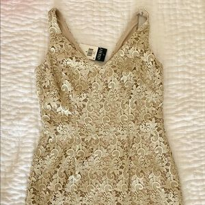 Ralph Lauren gold lace dress with tag